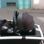 the Urban Arrow cargo bike with the car seat mounted