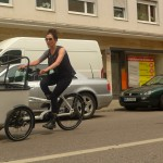Butchers and bicylce . Jess riding the tilting cargo bike