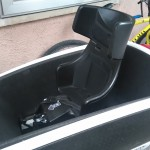 the bo bike seat facing front insode the urban arrow cargo bike