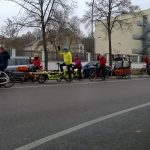 group ride to pick up christmas trees by bike