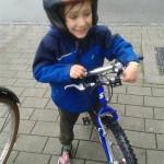 hot helmet on the Mountainbike